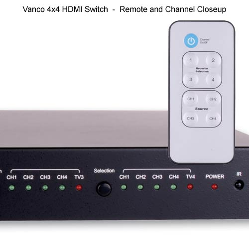 Vanco 2 by 4 HDMI Switch remote and channel close up - icon