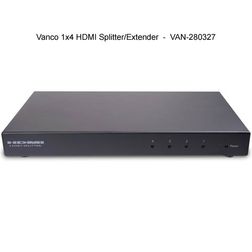 front view of Vanco 1 by 4 HDMI Splitter and Extender - icon