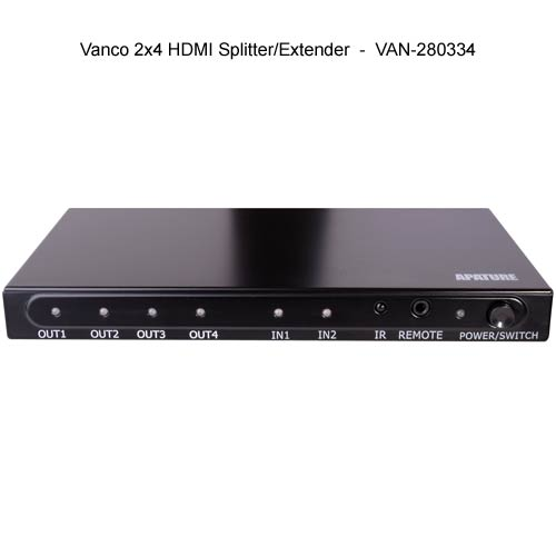 front view of Vanco 2 by 4 HDMI Splitter and Extender - icon
