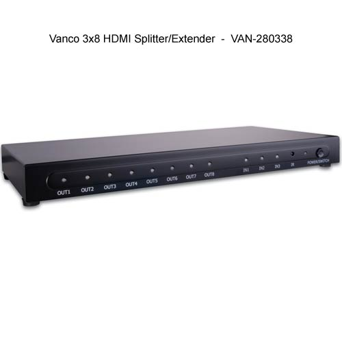 front view of Vanco 3 by 8 HDMI Splitter and Extender - icon