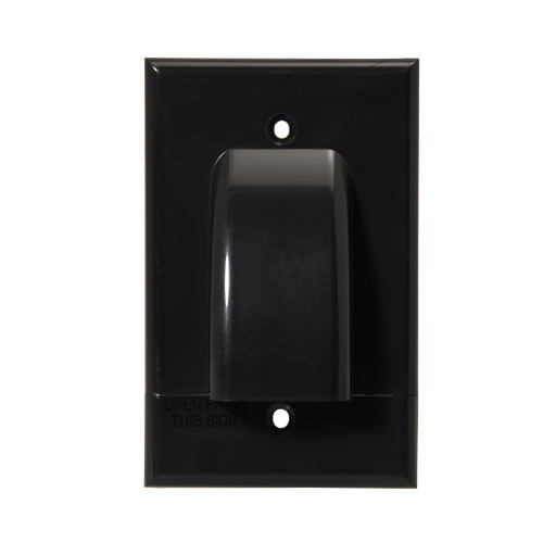 front view of Vanco Hinged single gang Cable Wall Plate, Black - icon