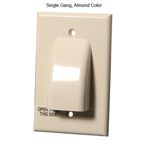front view of Vanco Hinged single gang Cable Wall Plate, Almond - icon