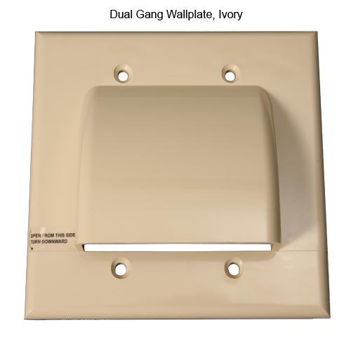 front view of Vanco Hinged dual gang Cable Wall Plate, Ivory - icon