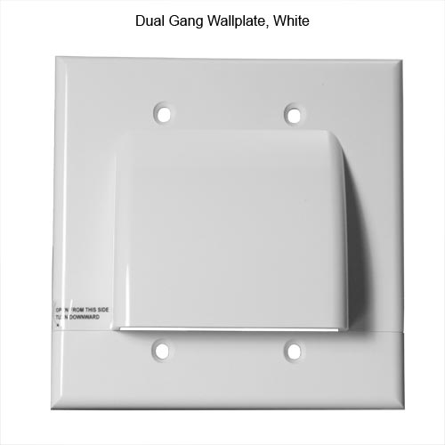 front view of Vanco Hinged dual gang Cable Wall Plate, White - icon