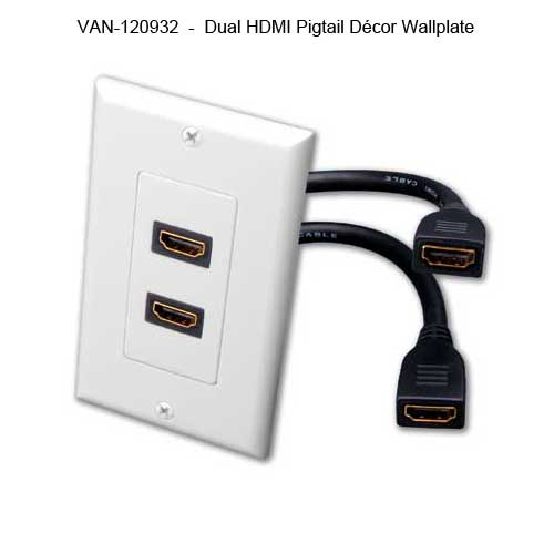 Vanco HDMI Slim Line Wall Plate with repeater out adapter - icon