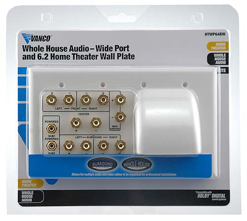 front view of VANCO 6.2 Whole House Audio Home Theater Wall Plate in package - icon