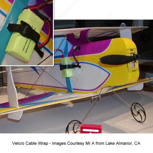 VELCRO® Brand ONE-WRAP® wire wraps holding a plane battery