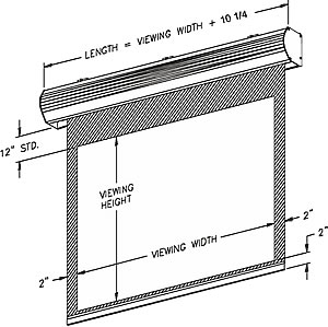 isometric dimensions of Vutec LECTRIC 1 projection screen