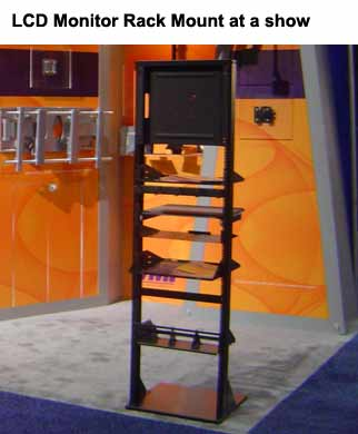 vmp Universal LCD Monitor Rack Mount in use at trade show - icon