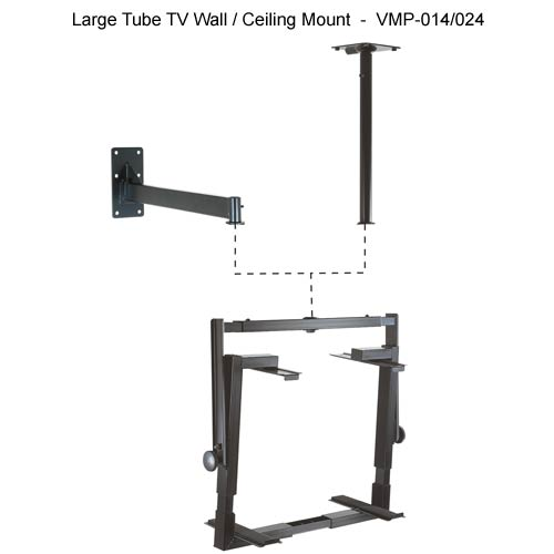 vmp large tube tv wall and ceiling mount in black - icon