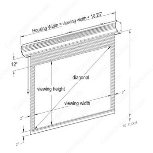 sizing diagram for LECTRIC I RF housing and screen - icon
