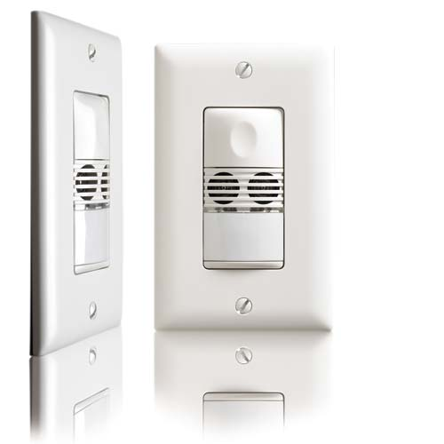 Watt Stopper dual technology wall switch sensor, front and side view - icon