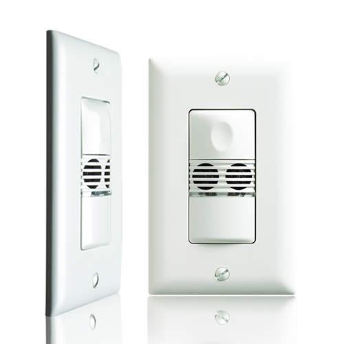 Watt Stopper ultrasonic wall switch sensor, front and side view - icon