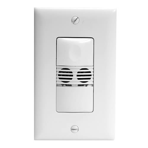 Watt Stopper ultrasonic wall switch sensor, front view with wall plate - icon