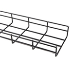 black powder-coated WireRun cable tray