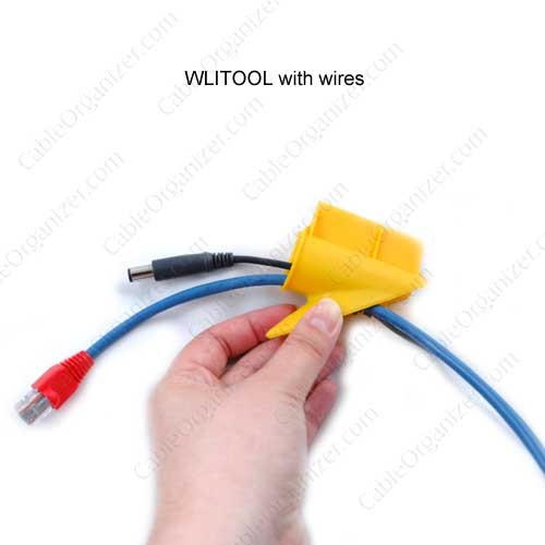 yellow alternate wire loom tool in use with cables icon
