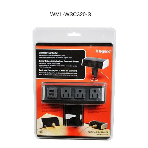Wiremold Clamp-on Desk Power Center 3-ac power and 2-usb ports - icon
