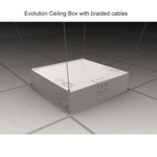 Wiremold Evolution Ceiling Box Suspended by Braided Cables