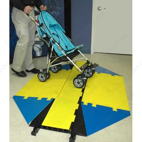 User pushing a childrens stroller over aYellow Jacket Wasp cord cover with ADA compliant wheelchair ramps icon